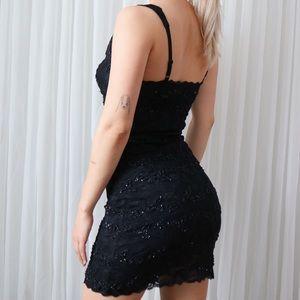 Sexy Beaded Lace Little Black Dress